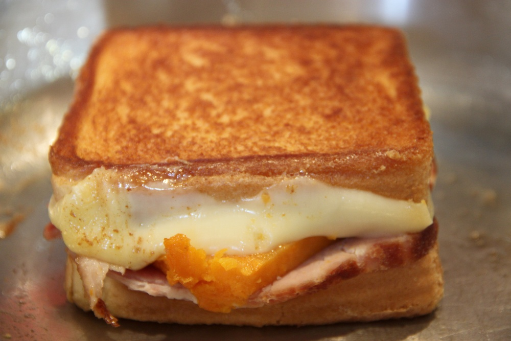 Grilled Ham, Sweet Potato and Swiss Cheese Sandwich (2/3)