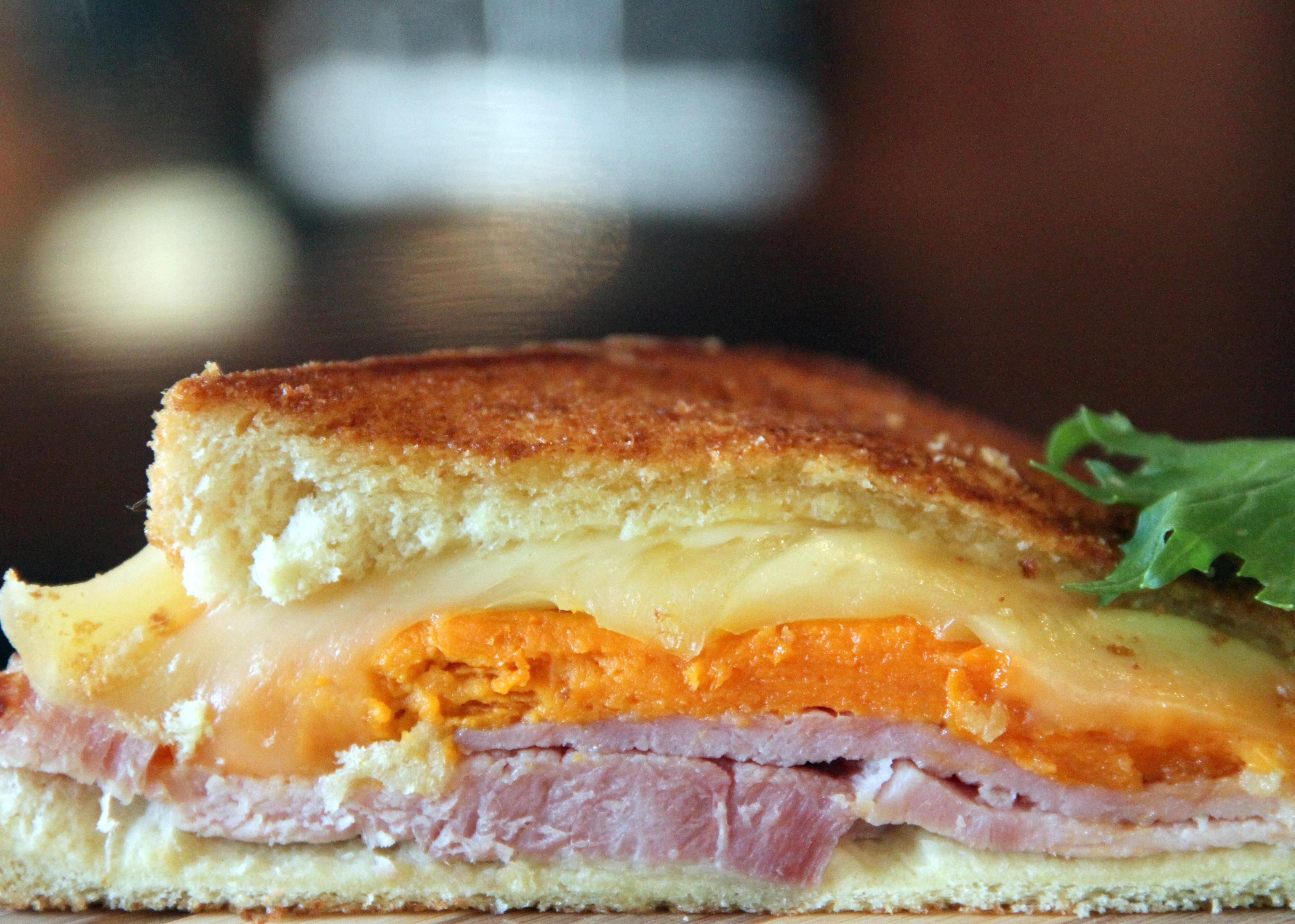 Grilled Ham, Sweet Potato and Swiss Cheese Sandwich | MixerUpper.com