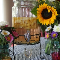July - Homemade Peach-Infused Vodka for our annual July 3rd party.