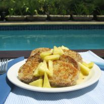 April - Pina Colada French Toast poolside in the Caribbean.
