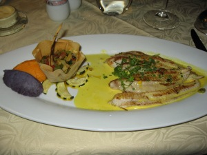 Grilled Dover Sole in Saffron Sauce