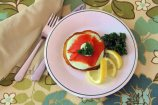 Sweet Corn Cakes with Smoked Salmon and Parslied Cream